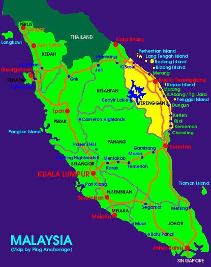 Redang Island Malaysia  city images : Map of Malaysia, Kuala Terengganu, Pulau Redang Island. Map